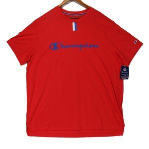 Champion Mens Red Double Dry Spellout Logo T-Shirt